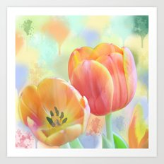 Pastel Painterly Tulips Art Print