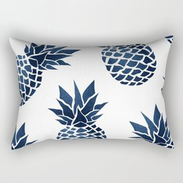 Pineapple Blue Denim Rectangular Pillow