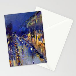 Pissarro Montmartre Boulevard Night Stationery Cards
