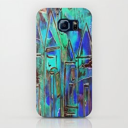 Neon Blue Houses iPhone Case