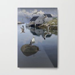 Flock of Gulls by a Fisherman's Wharf at Peggy's Cove in Nova Scotia Canada Metal Print