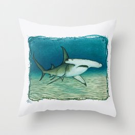 """Great Hammerhead Shark"" by Amber Marine ~ Watercolor Painting, (Copyright 2016) Throw Pillow"