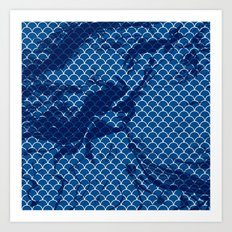 Snorkel blue small scallops with dark texture Art Print