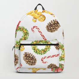 Christmas Watercolor Illustration Pattern Backpack