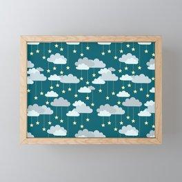 Clouds & Stars Night Sky Pattern Framed Mini Art Print