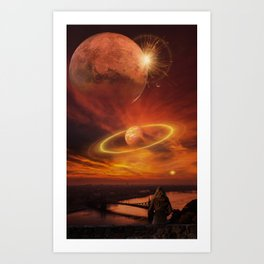The Planets Cosmos Girl by GEN Z Art Print
