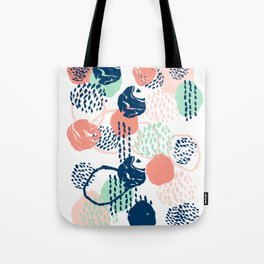 Abstract coral mint navy modern color palette basic canvas art for home Tote Bag