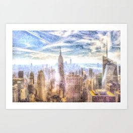 New York Manhattan Skyline Art Art Print