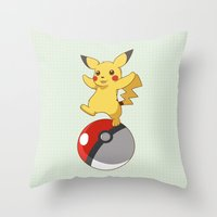pokeball Throw Pillows featuring Pokeball Go by Nozubozu