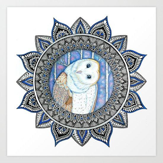 Winter Barn Owl Mandala Art Print