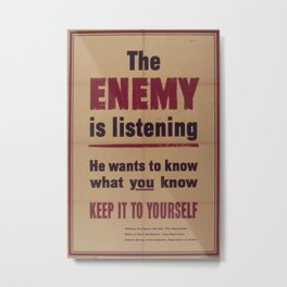 Vintage poster - The Enemy is Listening Metal Print