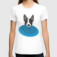 border collie T-shirts featuring Border Collie - Disc Dog 2 by Niklab