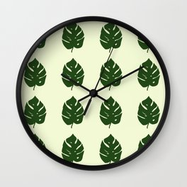 Monstera Leafs Wall Clock
