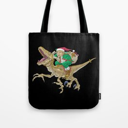 Christmas Elf Riding a Velociraptor Tote Bag