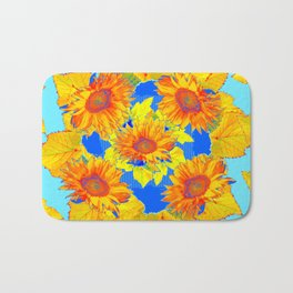 Turquoise-gold Sunflowers Leaves Pattern Abstract Bath Mat
