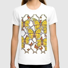 ABSTRACT LACEY PATTERN MONARCH BUTTERFLIES DESIGN T-shirt