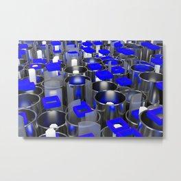 Metal tubes, hexagons and glass Metal Print