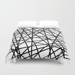 Lazer Dance Black on White Duvet Cover