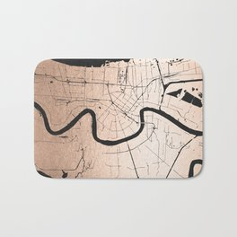 New Orleans Rose Gold and Black Map Bath Mat