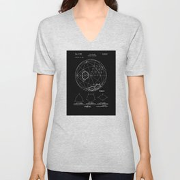 Buckminster Fuller 1961 Geodesic Structures Patent - White on Black Unisex V-Neck