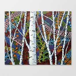 Sunset Sherbert Birch Forest (ORIGINAL ACRYLIC PAINTING) by Mike Kraus - art valentines day girl Canvas Print