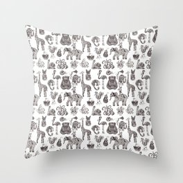 Fancy animals in black and white Throw Pillow