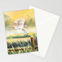 Egret Flying Over Marsh  Stationery Cards