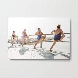 seniors stretching during outdoor fitness class Metal Print