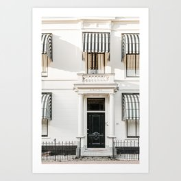 Black door with striped awnings. Minimalistic print - fine art photography Art Print