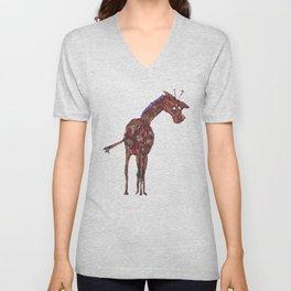 Purple Giraffe Unisex V-Neck