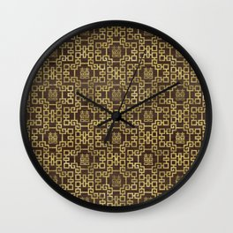 Chinese Pattern Double Happiness Symbol Gold on Wood Wall Clock