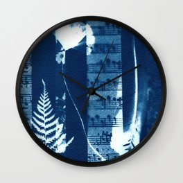 Fragments of the Past (34), art print, collage, blue print, cyanotype print, wall art, wall decor Wall Clock