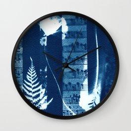 Music of the Wild Flowers, collage, blue print, cyanotype print, wall art, wall decor Wall Clock