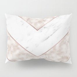 Shimmering mirage - pink marble chevron Pillow Sham
