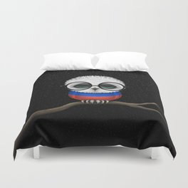 Baby Owl with Glasses and Russian Flag Duvet Cover
