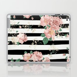 VINTAGE FLORAL ROSES BLACK AND WHITE STRIPES Laptop & iPad Skin