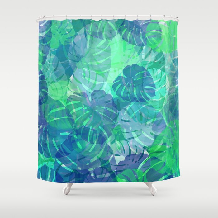 Monstera Leaves Tropical 2 Shower Curtain