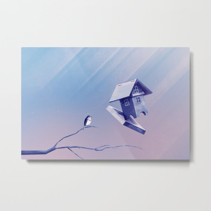 Freezing Bird...house Metal Print
