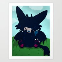 toothless Art Prints featuring Toothless by DaemonDeDevil