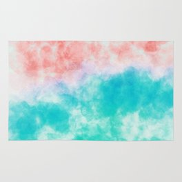 Orange and green watercolor effect Rug