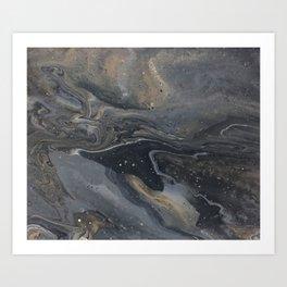 Grey&Gold Marble Art Print