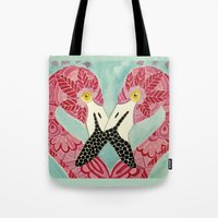 flamingos Tote Bags featuring Flamingos  by ArtLovePassion