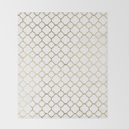 Elegant stylish white faux gold quatrefoil Throw Blanket