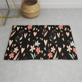 Valentines Day Romantics Flowers with Hearts Rug