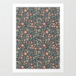 Orange Pretty Floral Pattern on Dark Art Print