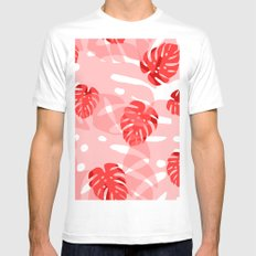 red monstera Mens Fitted Tee White MEDIUM
