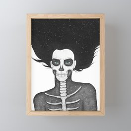Black and White Galaxy Skull Girl Framed Mini Art Print