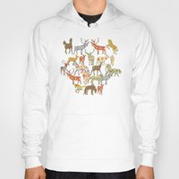 ikat Hoodies featuring deer horse ikat party by Sharon Turner