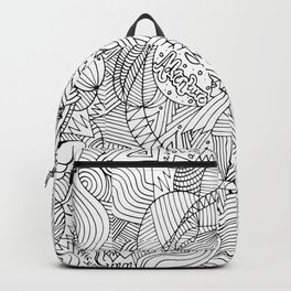 Wander in Black & White - Dreamy Ink Drawing Backpack