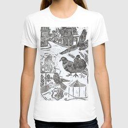 Bedford Square, Feeding pigeons lino cut T-shirt